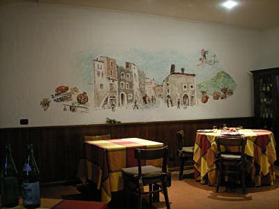 レストランの壁の絵が楽しい