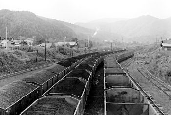 1976年の清水沢駅構内