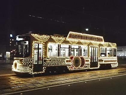 富山市内線の花電車(夜)