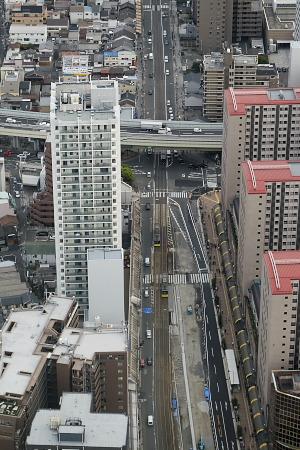 あべのハルカスから見た阪堺電車