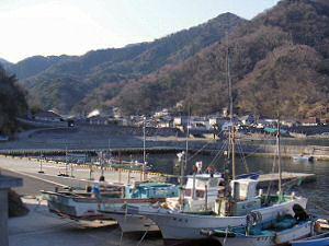 漁港から見た集落